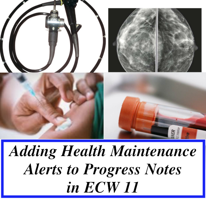 Adding a Health Maintenance Alert to a Progress Note in eCW 11
