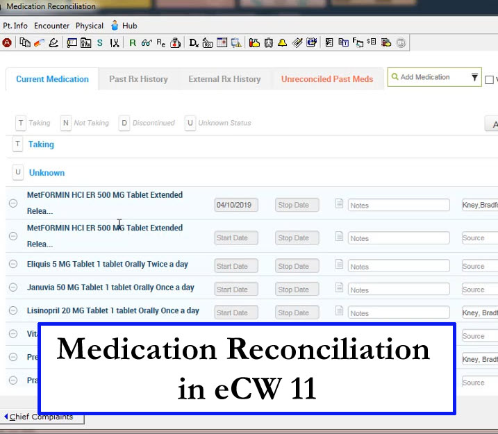 Medication Reconciliation in eCW 11