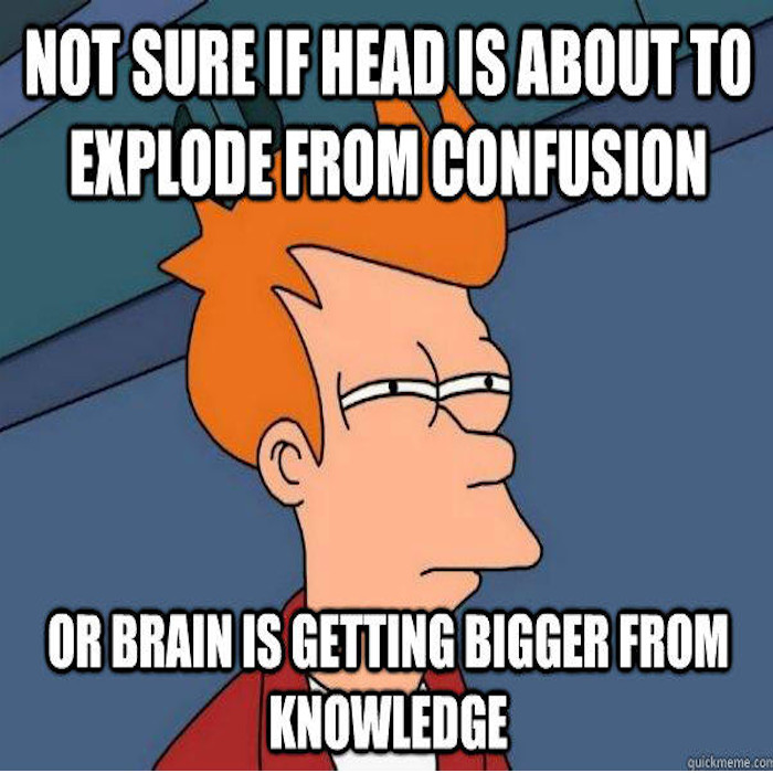 Joke: Head exploding because of confusion on brain getting bigger from knowledge